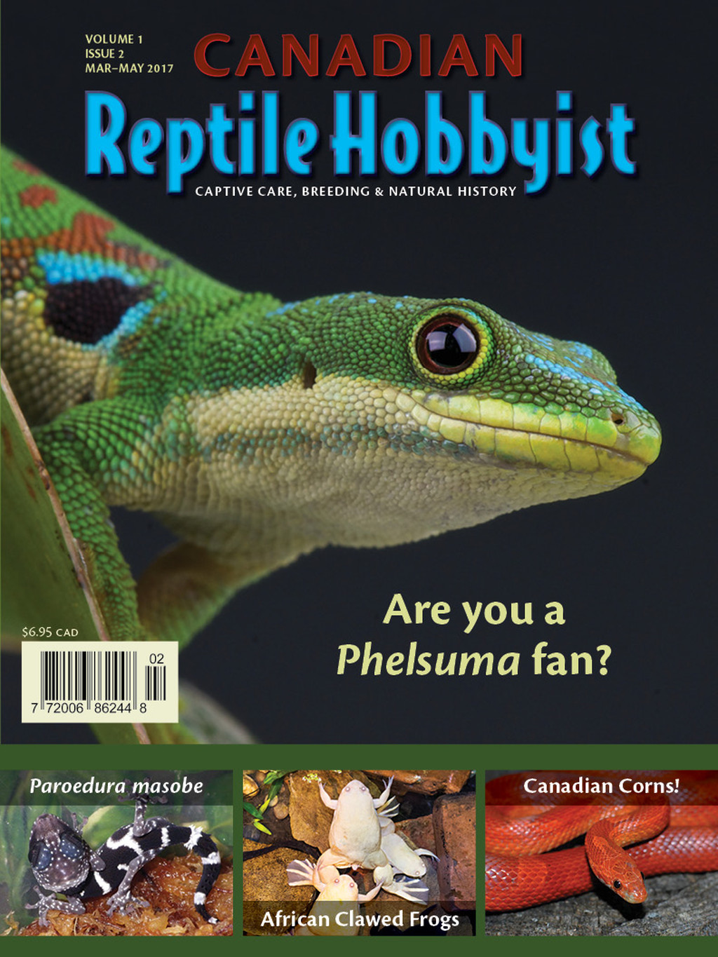 Cover of the September 2016 issue of Canadian Reptile Hobbyist magazine