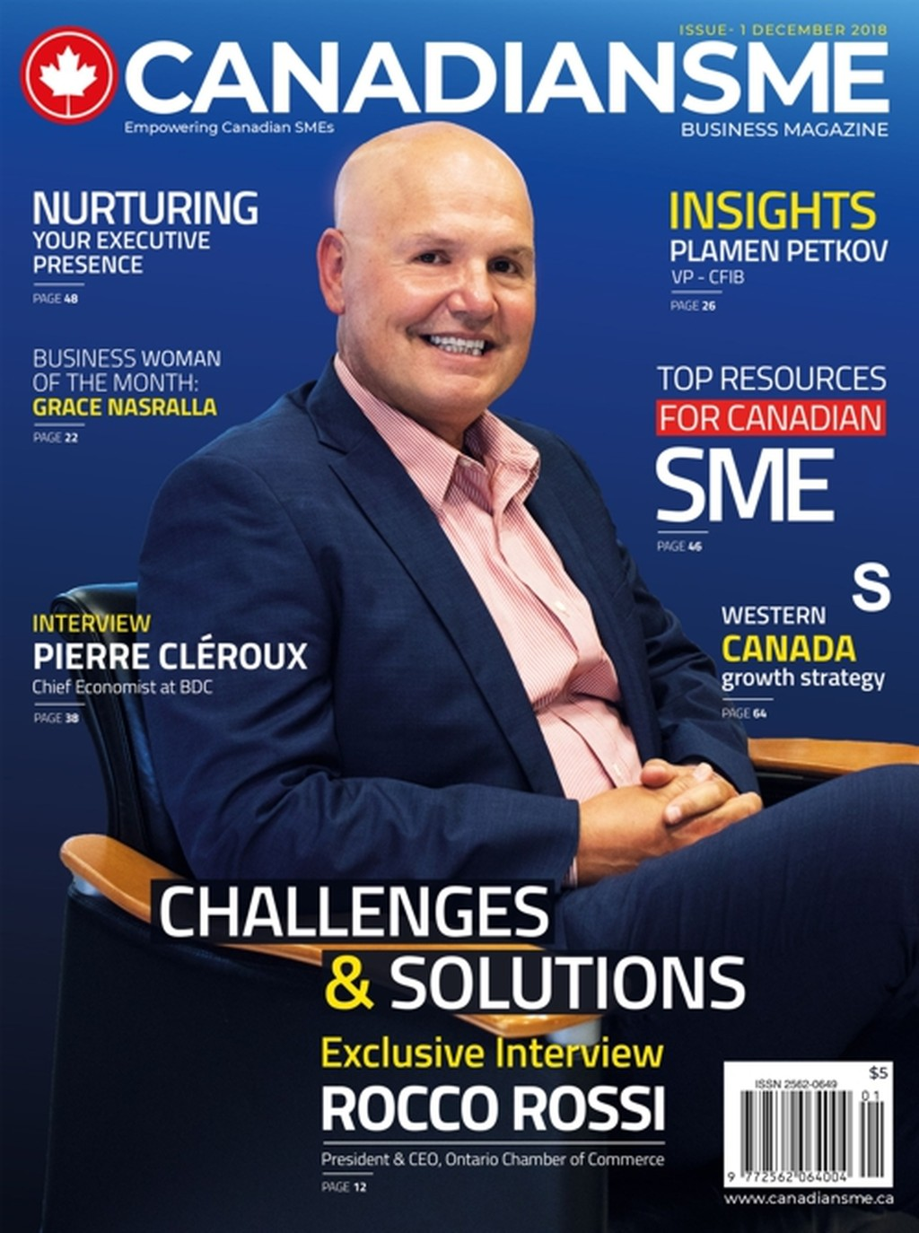 Cover of Canadian SME magazine, December 2018 issue