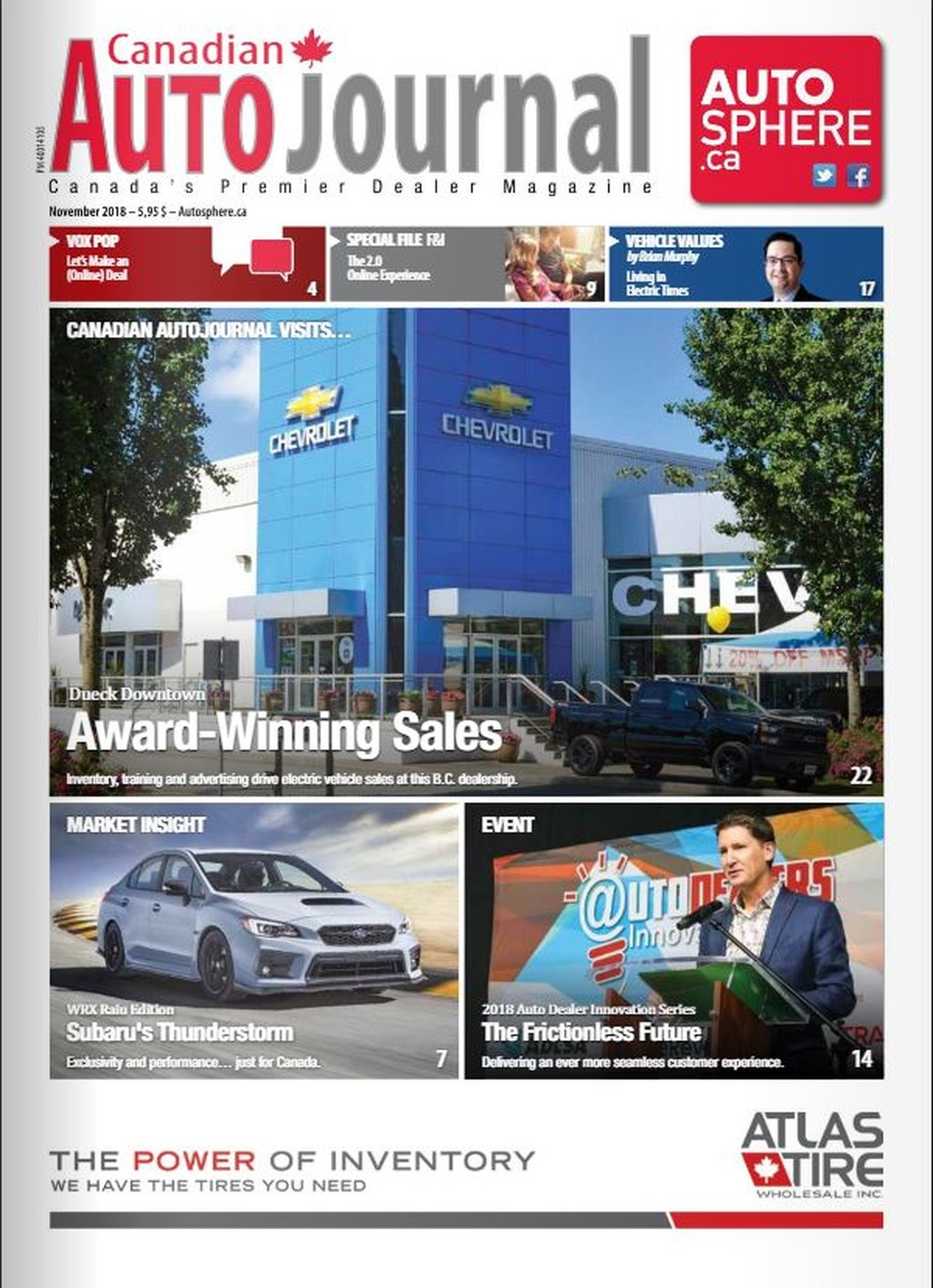 Cover of Canadian Autojournal magazine (English edition), November 2018 issue