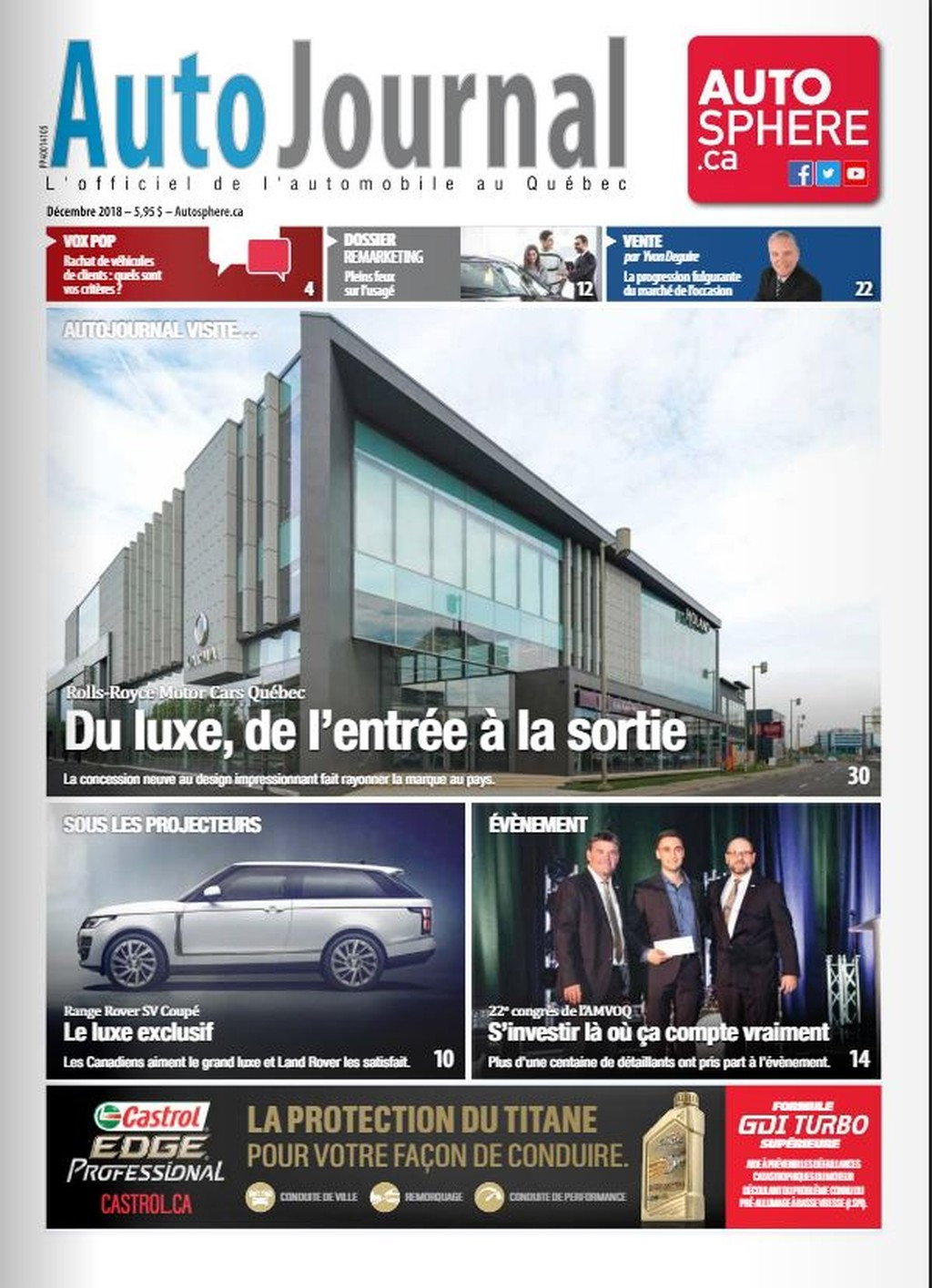 Cover of Canadian Autojournal magazine (French edition) magazine